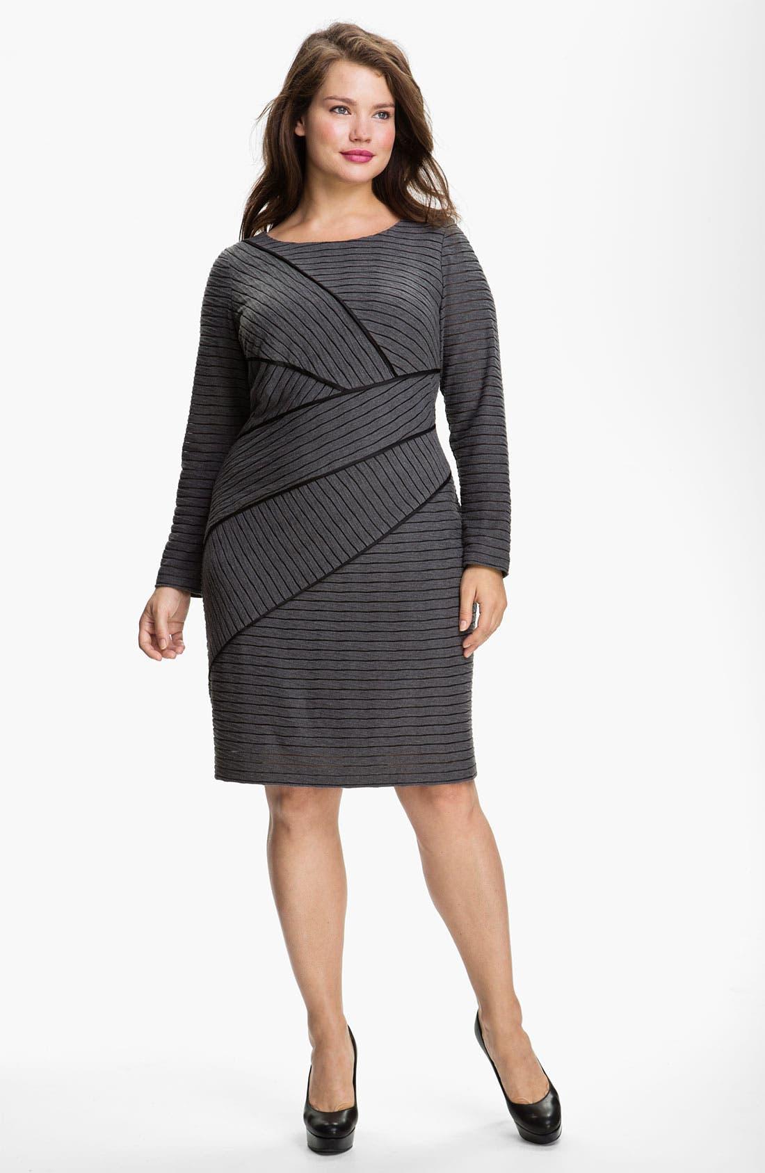 Main Image - Adrianna Papell Asymmetric Seamed Sheath Dress (Plus)