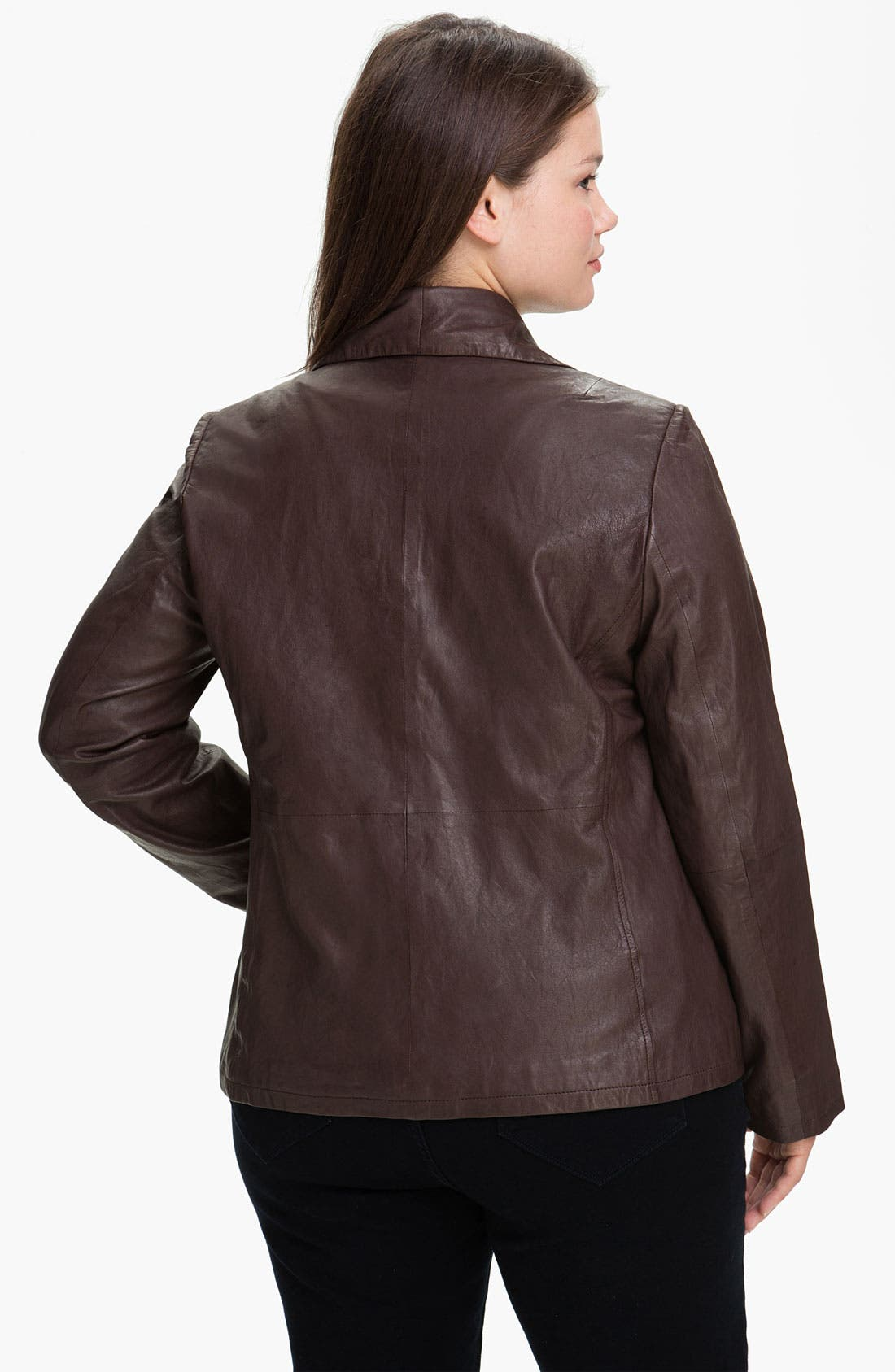 Alternate Image 2  - Eileen Fisher Open Front Leather Jacket (Plus)