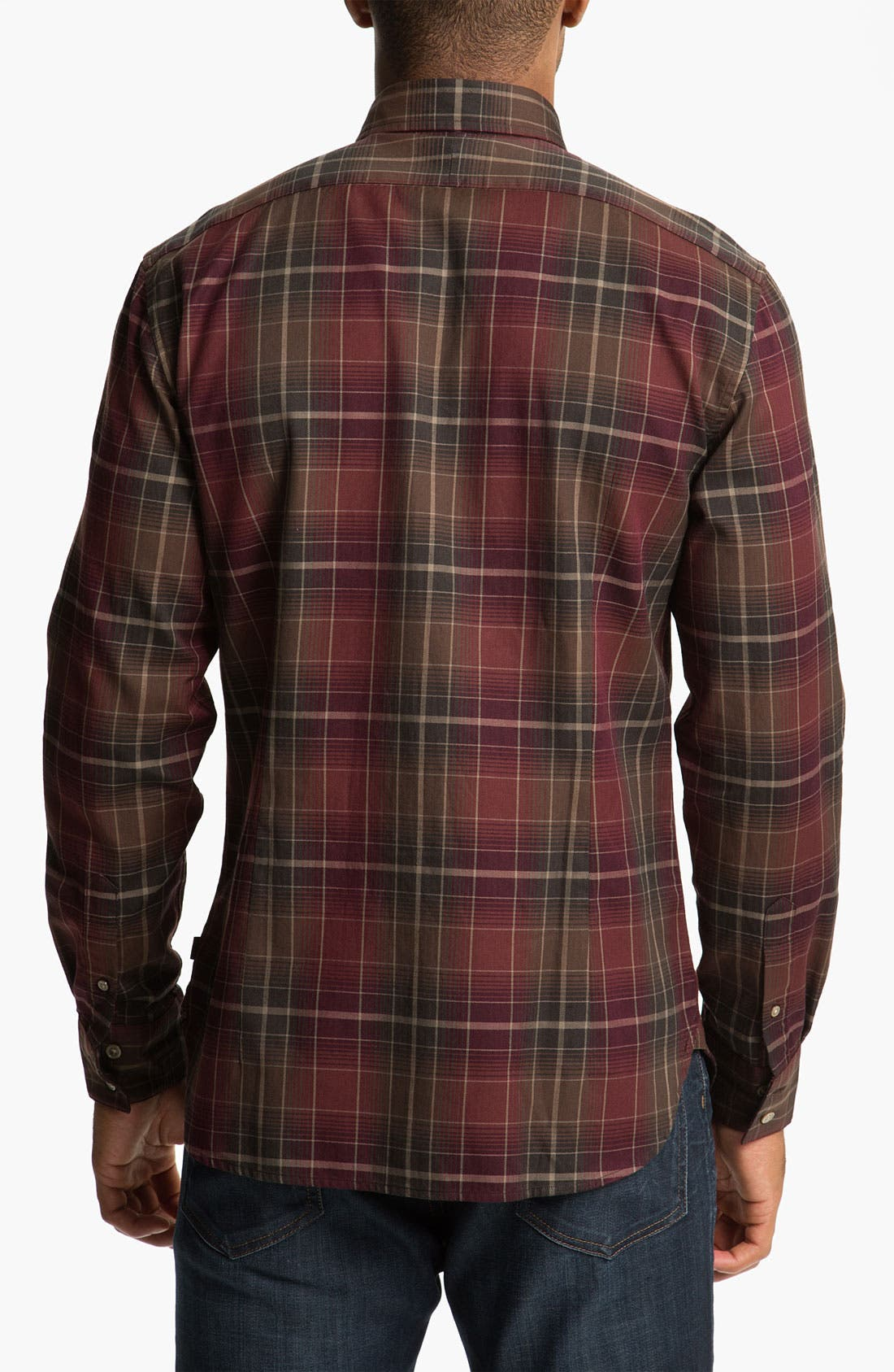 Alternate Image 2  - John Varvatos Star USA Trim Fit Plaid Sport Shirt