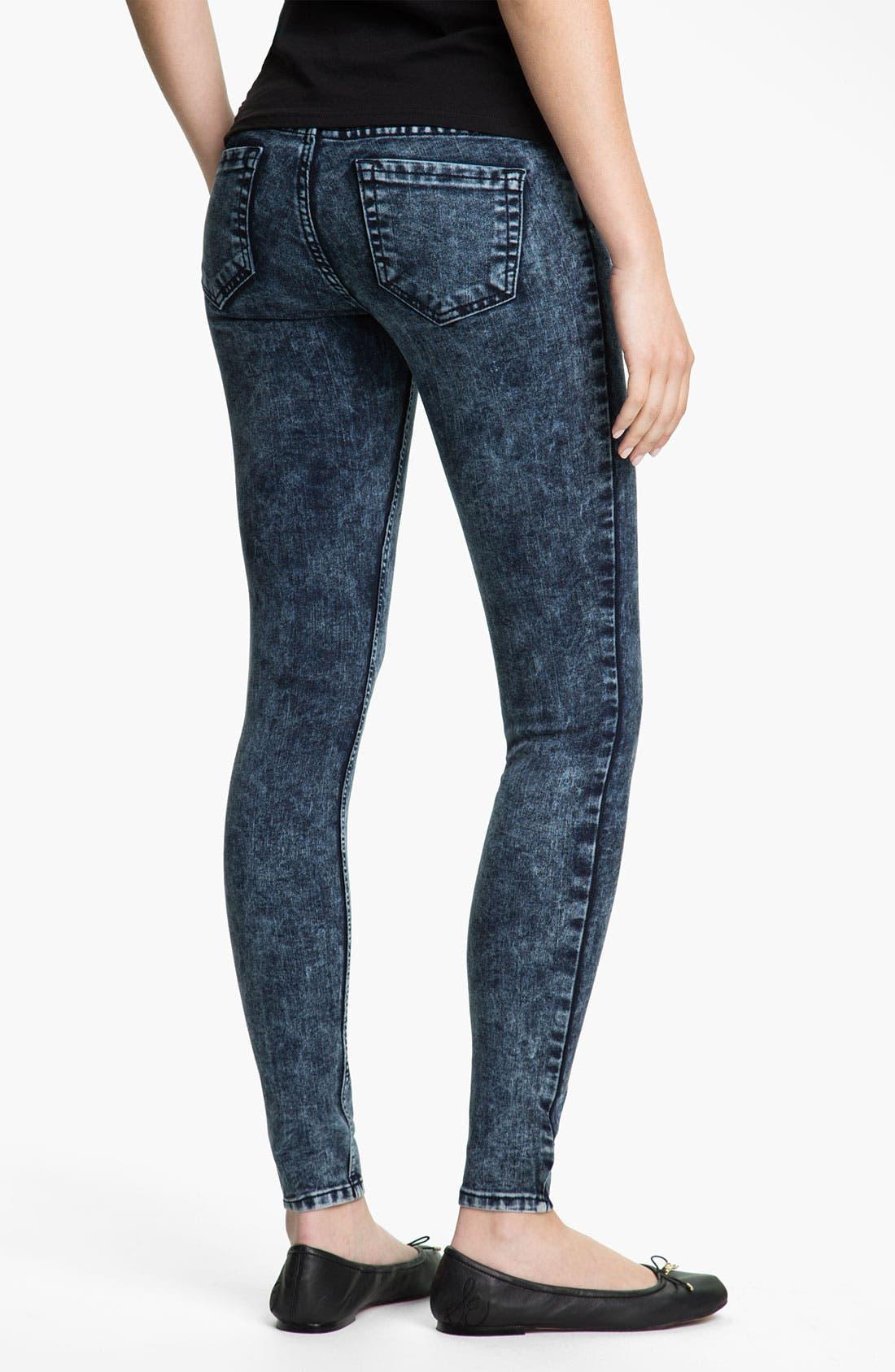 Main Image - See Thru Soul Acid Wash Skinny Jeans (Juniors)