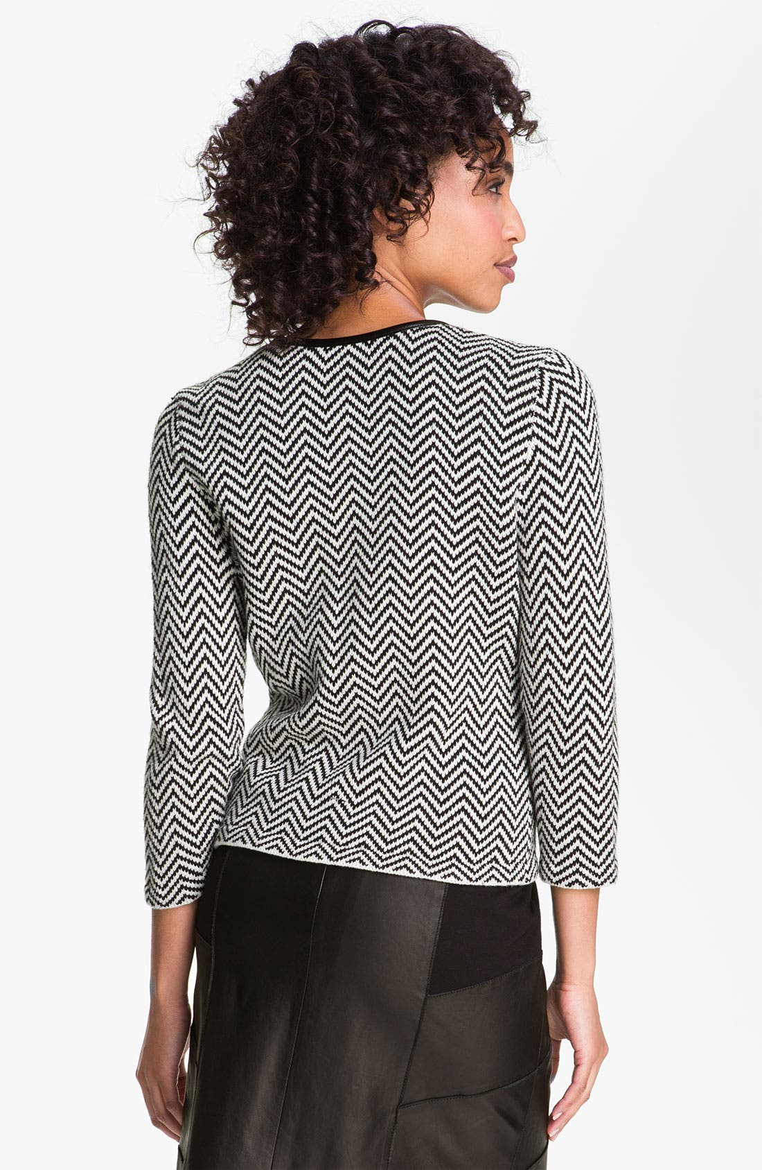 Alternate Image 2  - Halogen® Faux Leather Trim Herringbone Sweater Jacket