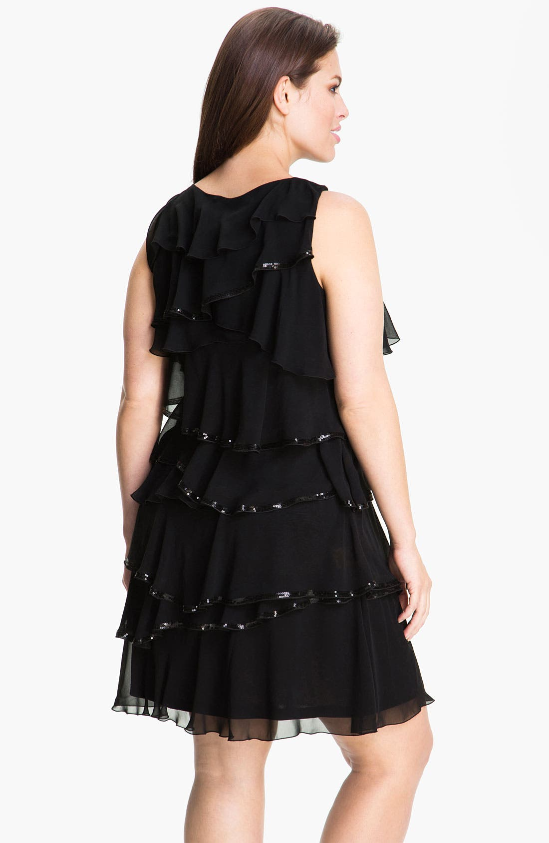 Alternate Image 2  - Calvin Klein Tiered Chiffon Shift Dress (Plus)