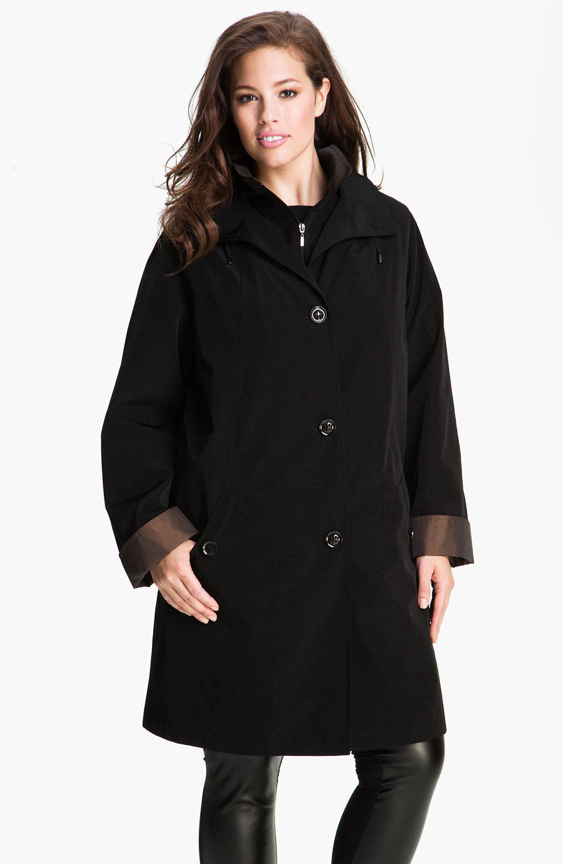 Alternate Image 1 Selected - Gallery A-Line Raincoat with Detachable Liner (Plus) (Online Exclusive)