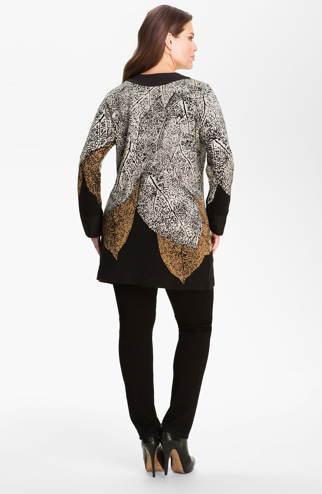Alternate Image 2  - Nic + Zoe 'Elegant Leaves' Sweater Jacket (Plus)