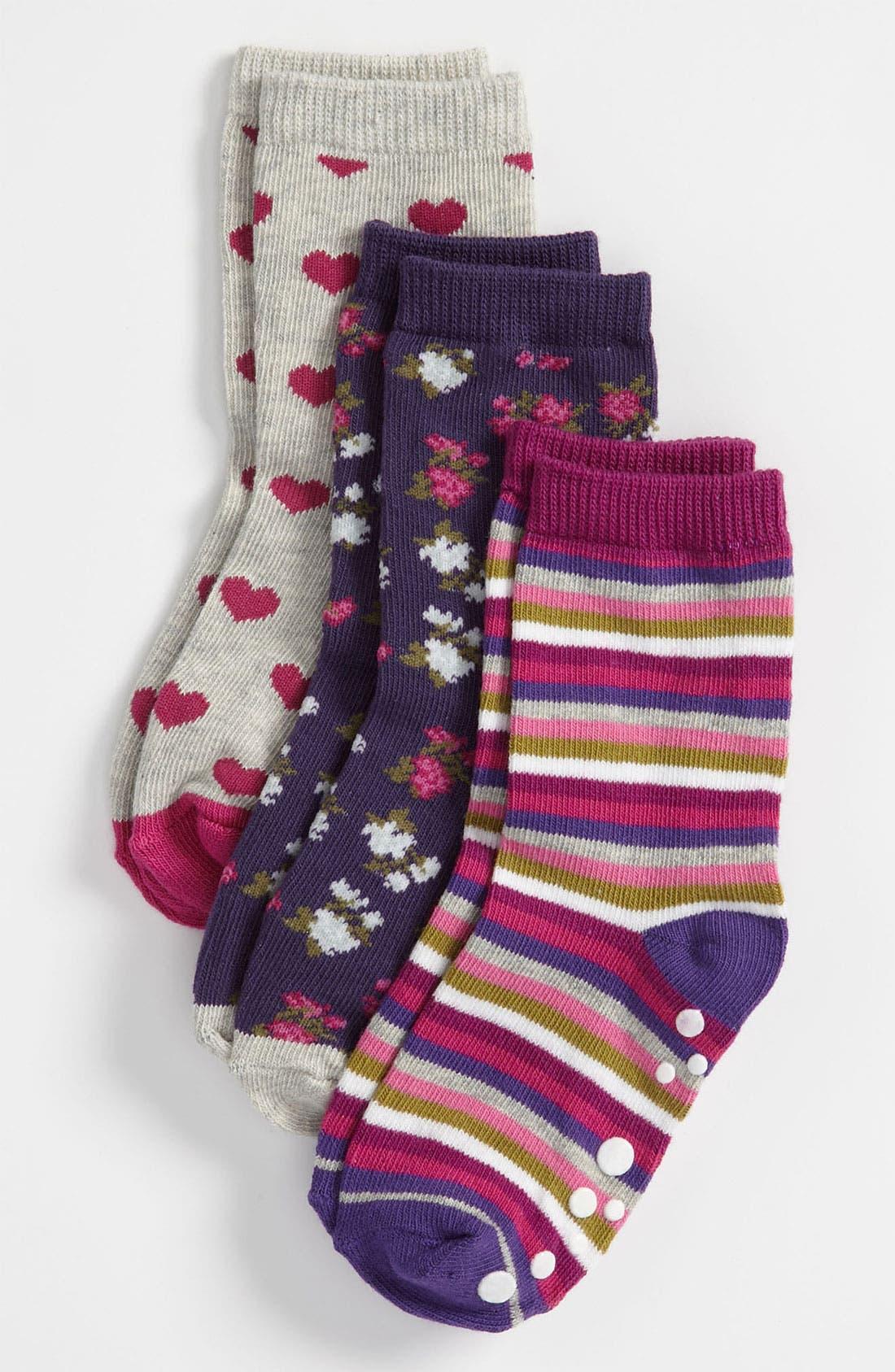 Alternate Image 1 Selected - Nordstrom 'Pattern Party' Crew Socks (3-Pack) (Toddler & Little Girls)