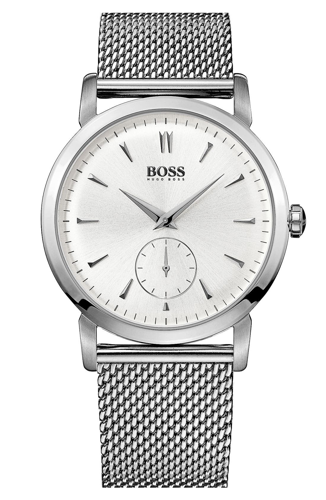 Alternate Image 1 Selected - BOSS Round Mesh Strap Watch, 40mm