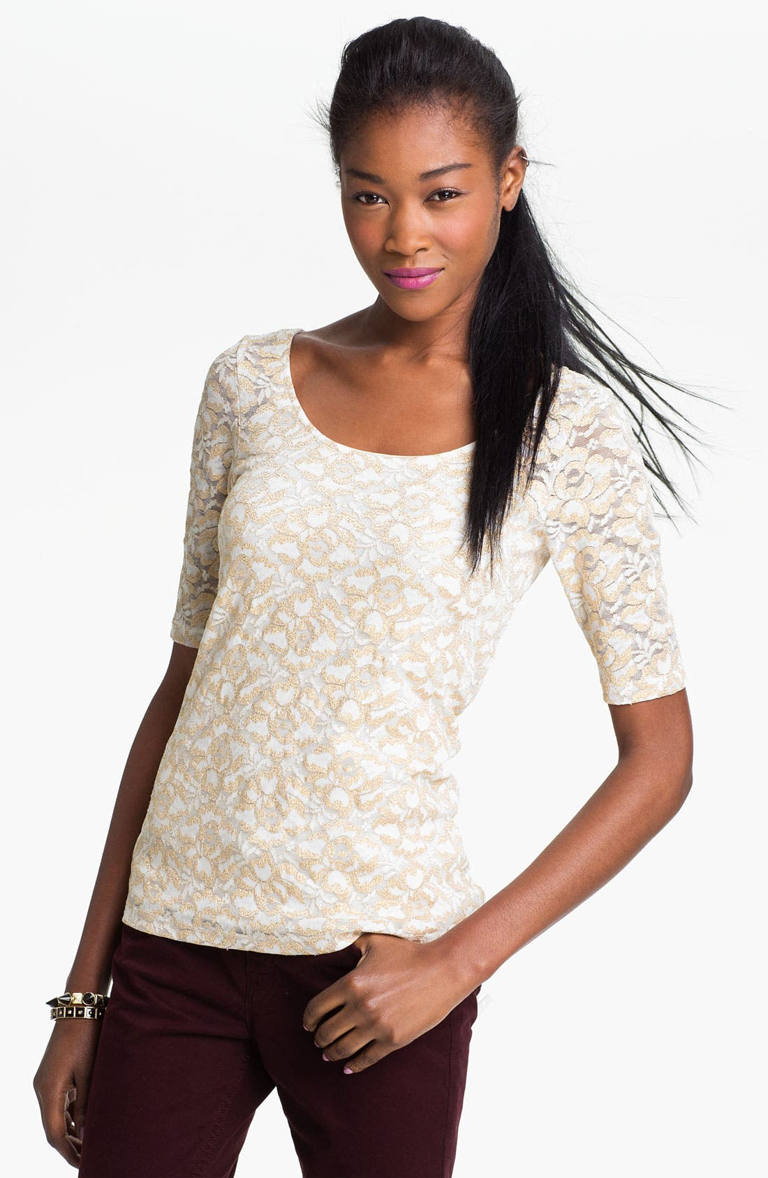 Main Image - h.i.p. Metallic Lace Top