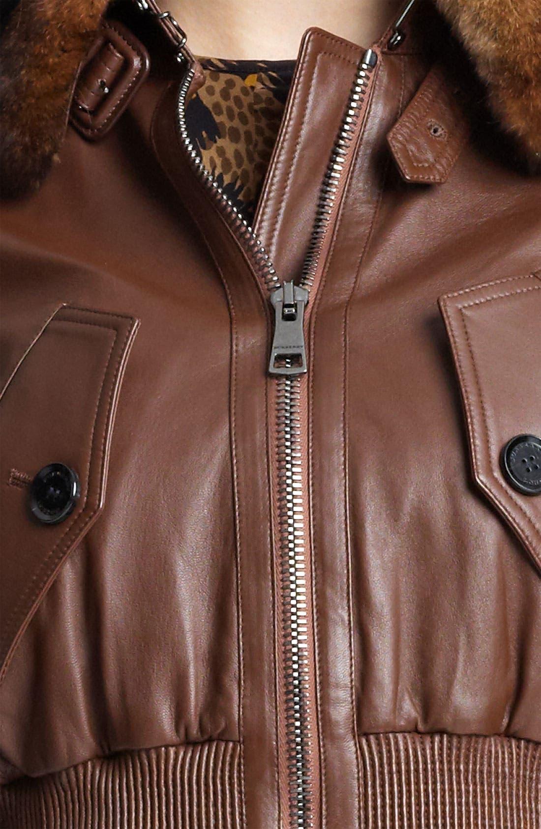 Alternate Image 3  - Burberry London Leather Bomber Jacket with Genuine Rabbit Fur Collar