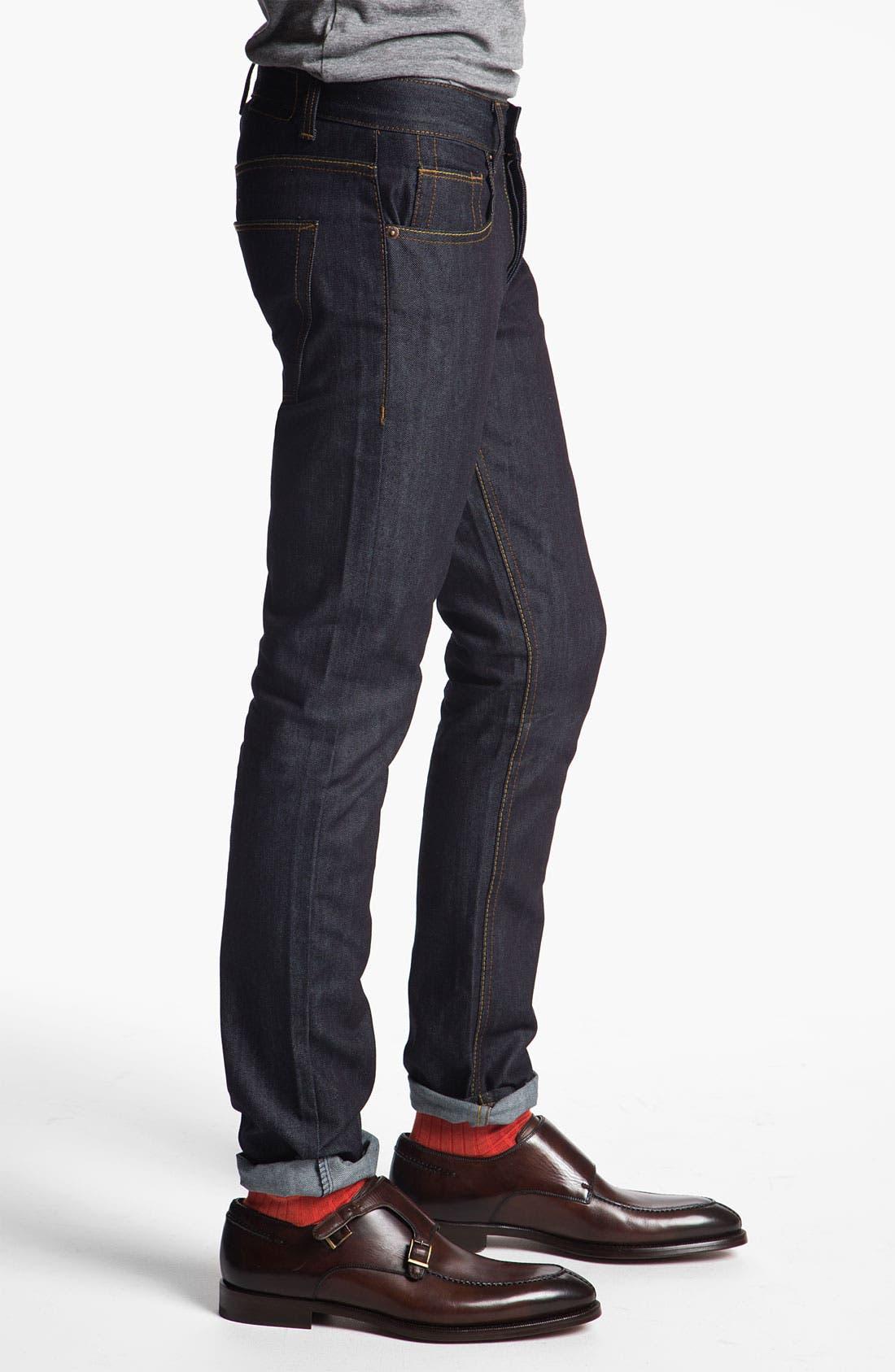 Alternate Image 3  - Topman 'Flynn' Skinny Jeans (Indigo)