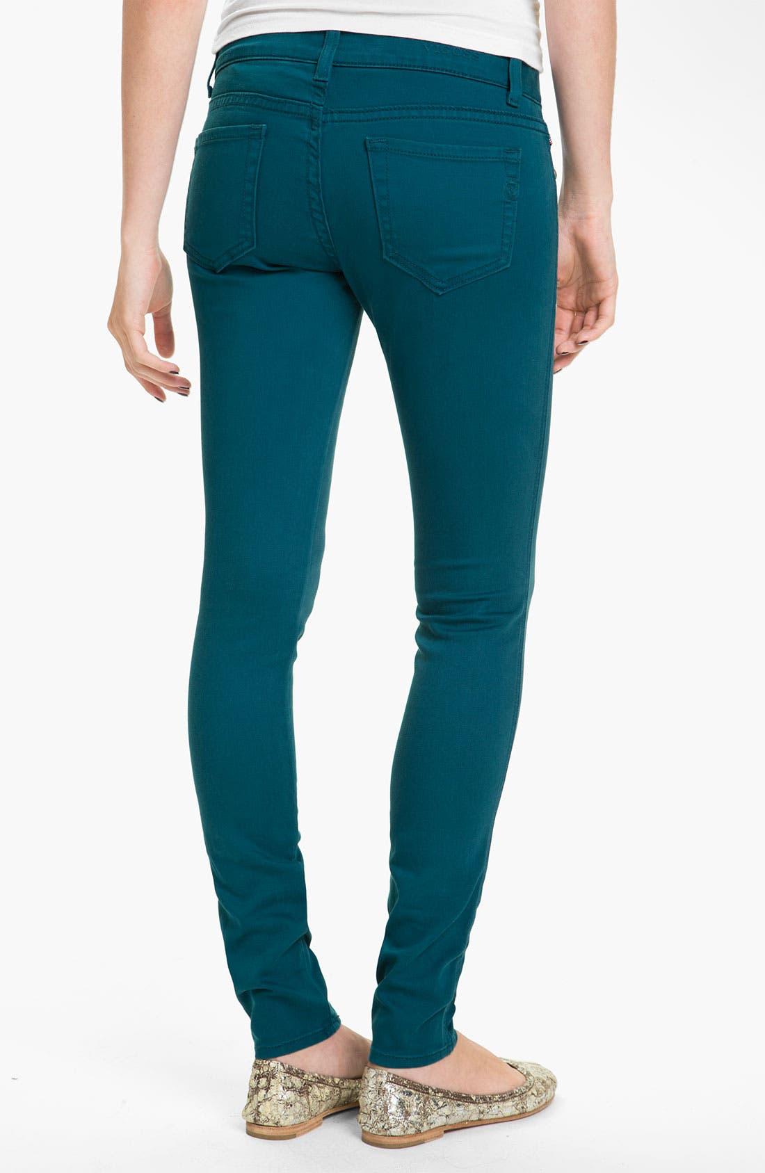 Main Image - Vigoss Color Skinny Jeans (Teal) (Juniors)