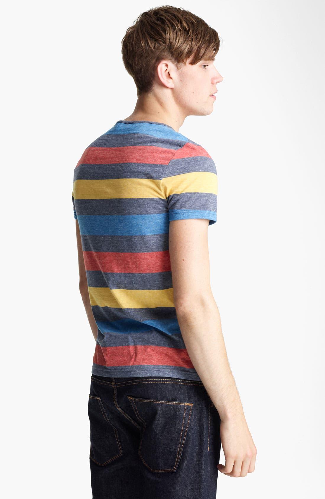 Alternate Image 2  - Topman Rainbow Stripe V-Neck T-Shirt