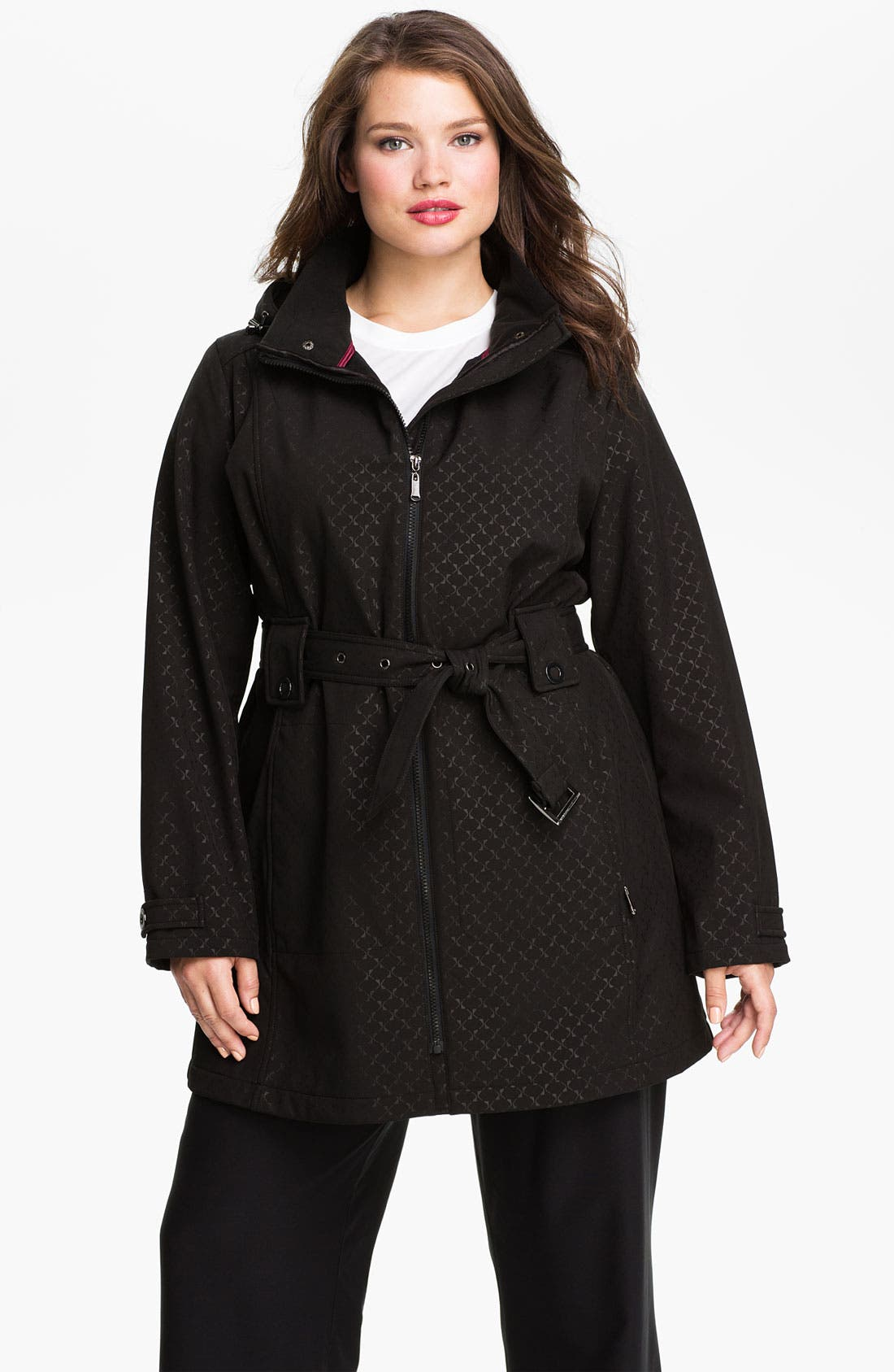 Main Image - Weatherproof® Belted Softshell Coat (Plus Size)
