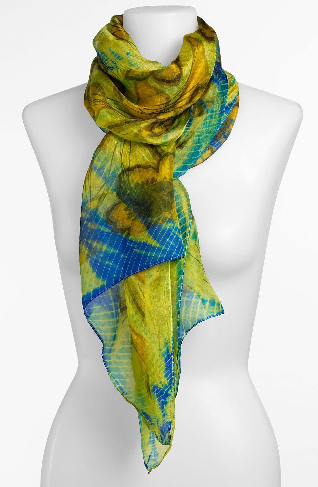 Main Image - Janie Besner Floral Tie Dye Silk Scarf