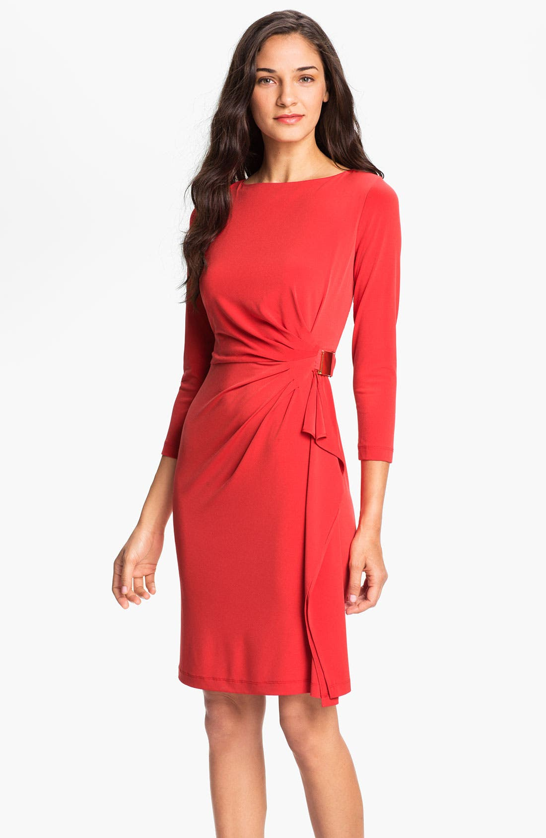 Main Image - Eliza J Side Drape Jersey Sheath Dress