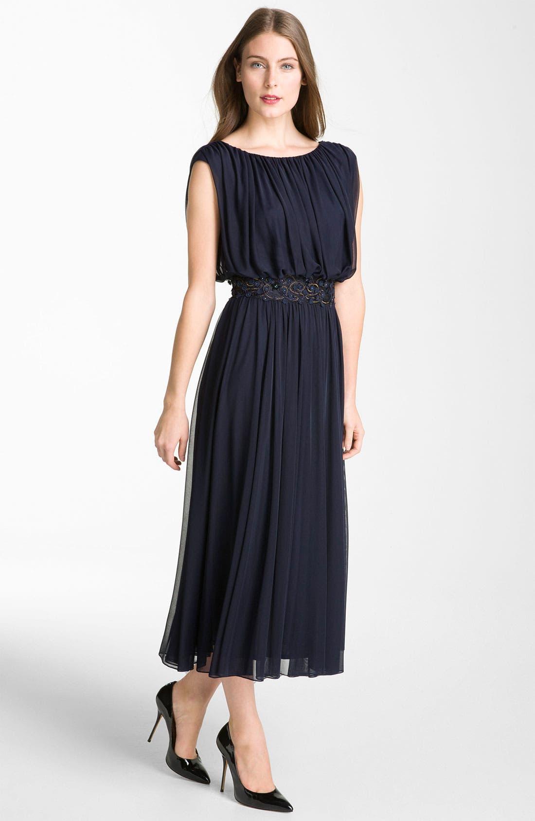 Main Image - Alex Evenings Blouson Mesh Midi Gown (Petite)
