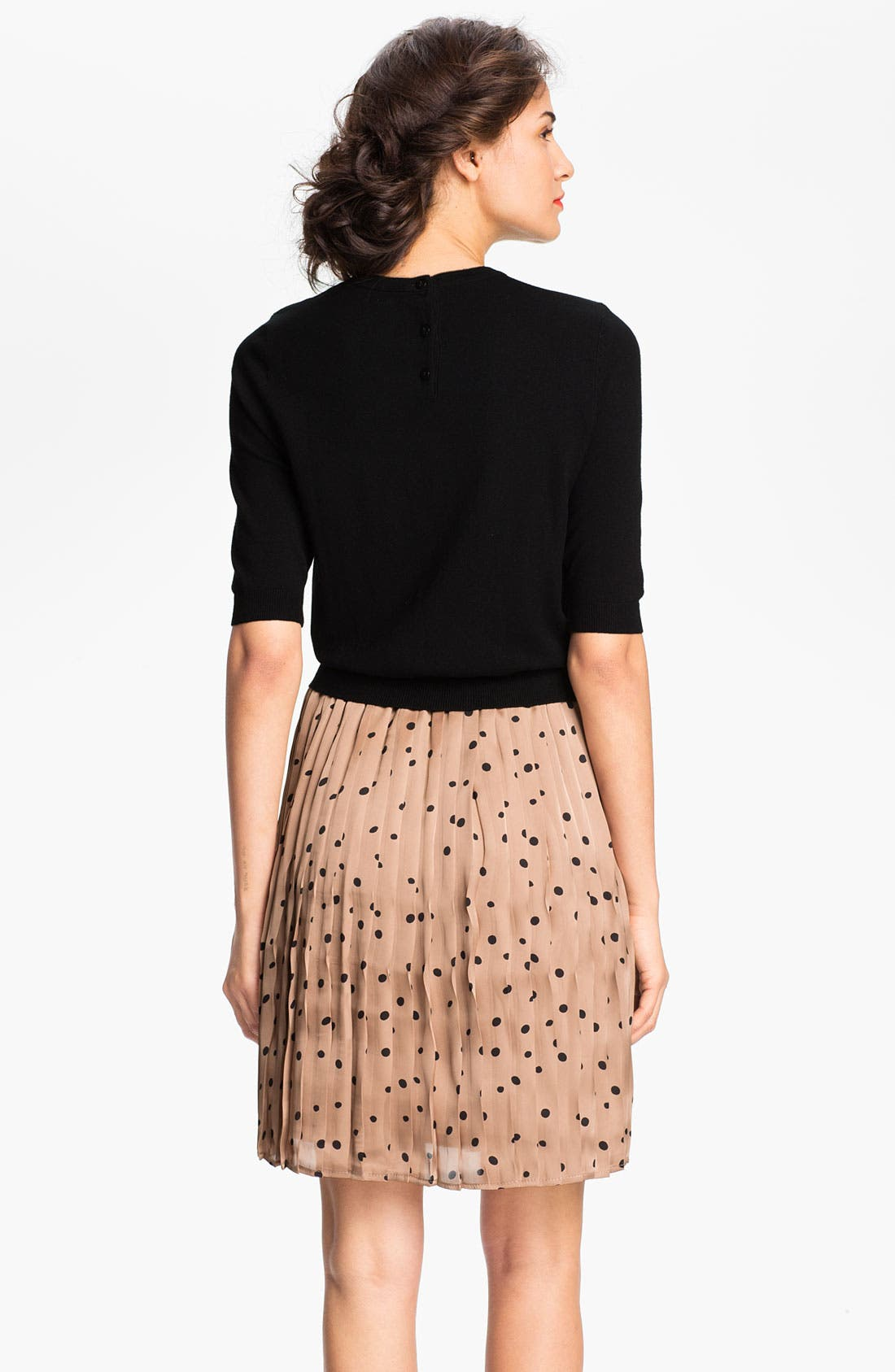 Alternate Image 2  - Taylor Dresses Polka Dot Skirt Sweater Dress