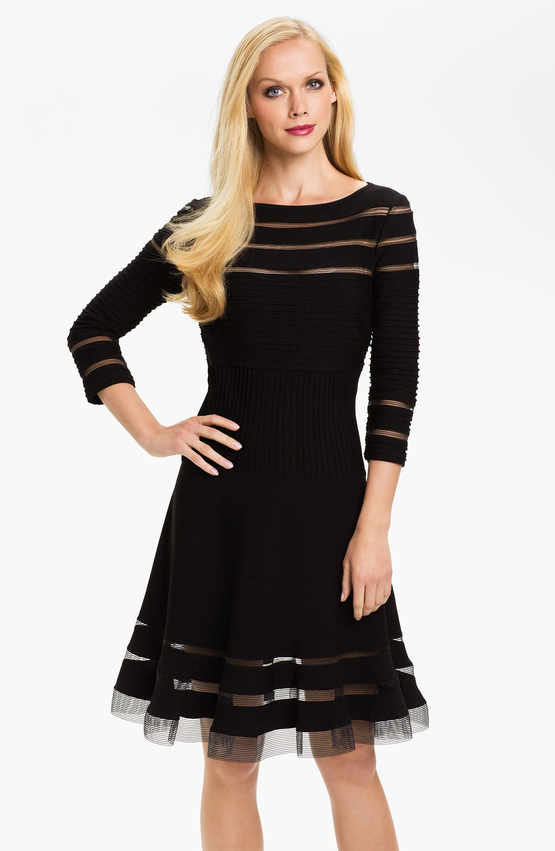 Main Image - Tadashi Shoji Mesh Stripe Fit & Flare Dress (Regular & Petite)