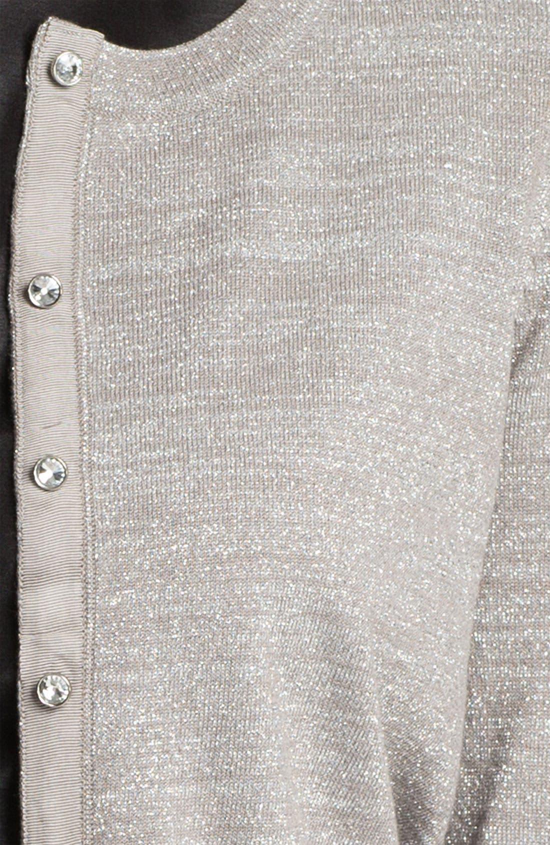 Alternate Image 3  - Donna Ricco Crystal Button Metallic Cardigan