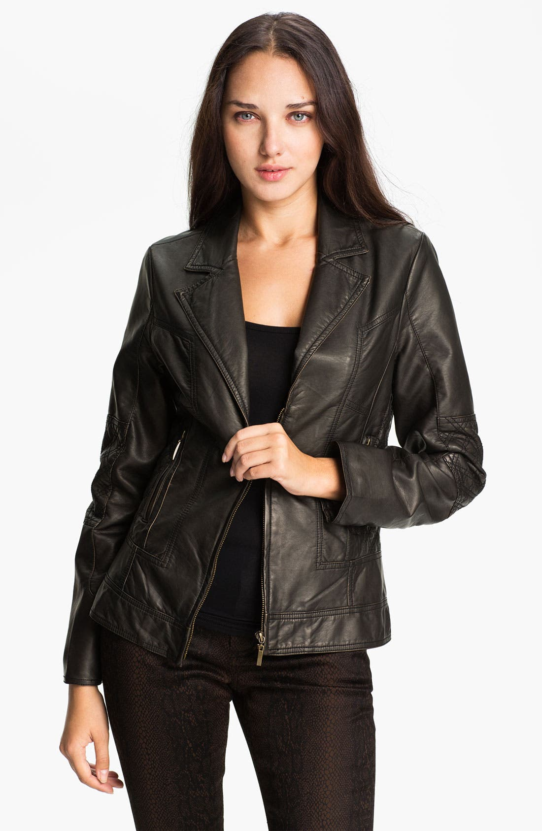 Alternate Image 1 Selected - Conrad C Collection Quilt Trim Faux Leather Jacket
