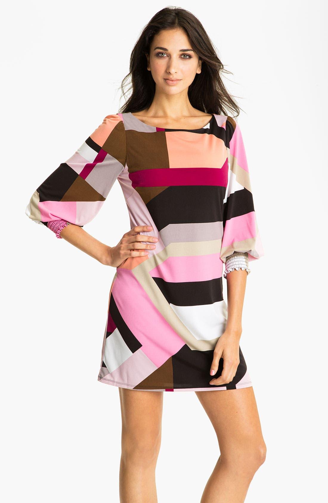 Main Image - Eliza J Smocked Cuff Jersey Shift Dress