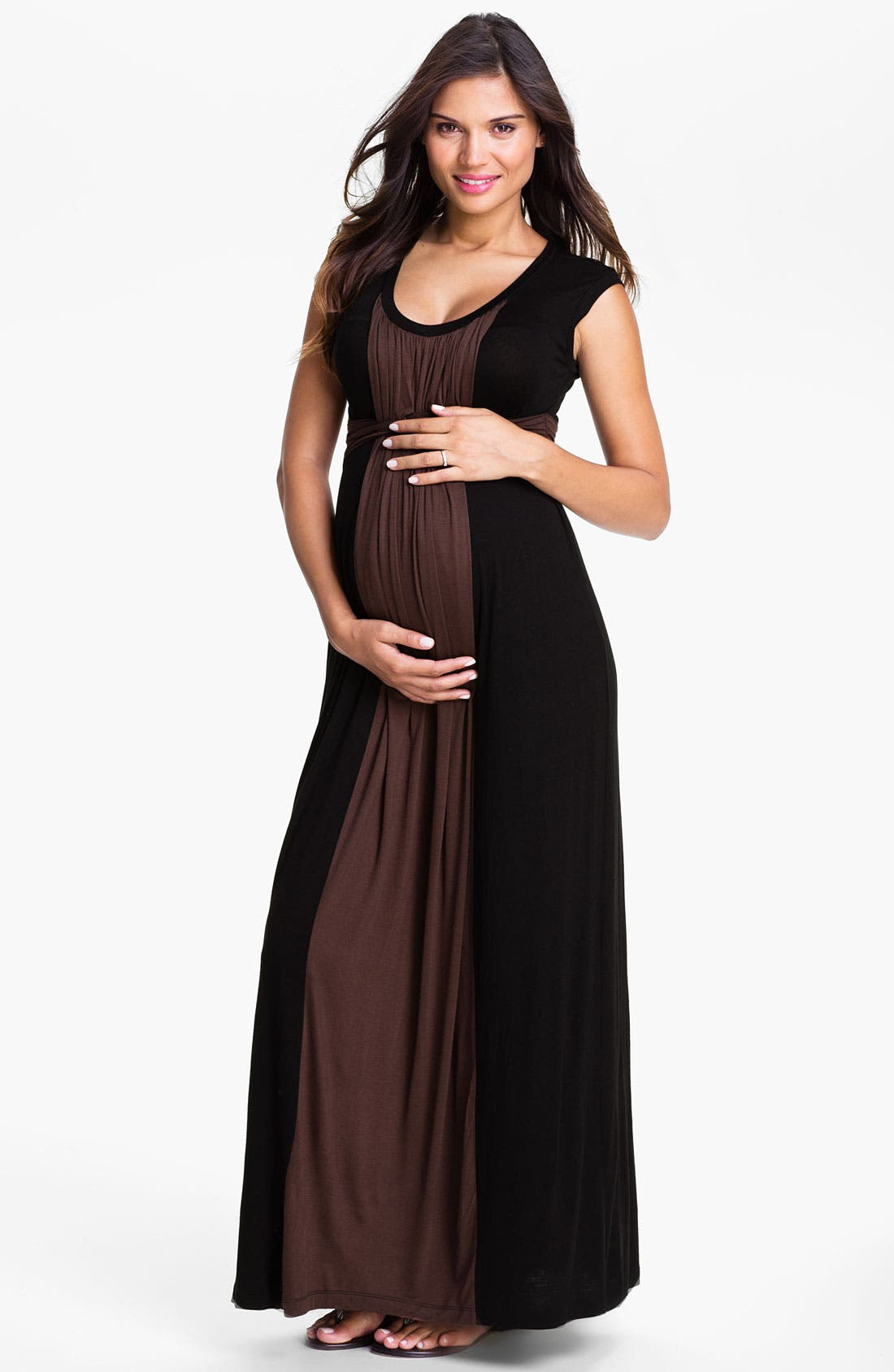 Main Image - Japanese Weekend Colorblock Maternity Dress with Nursing Access