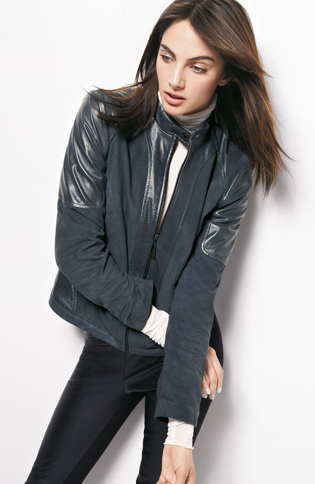 Alternate Image 4  - Bernardo Suede Marble Leather Jacket