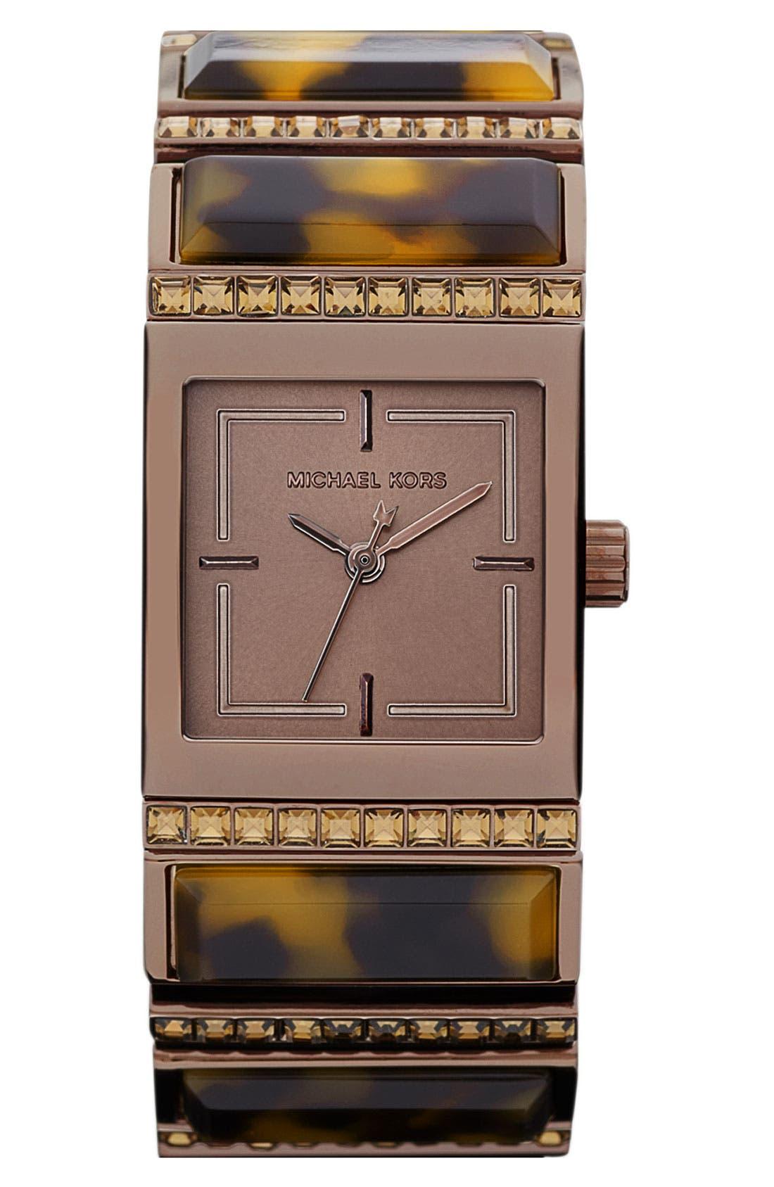 Main Image - Michael Kors 'Erin' Baguette Stone Bracelet Watch