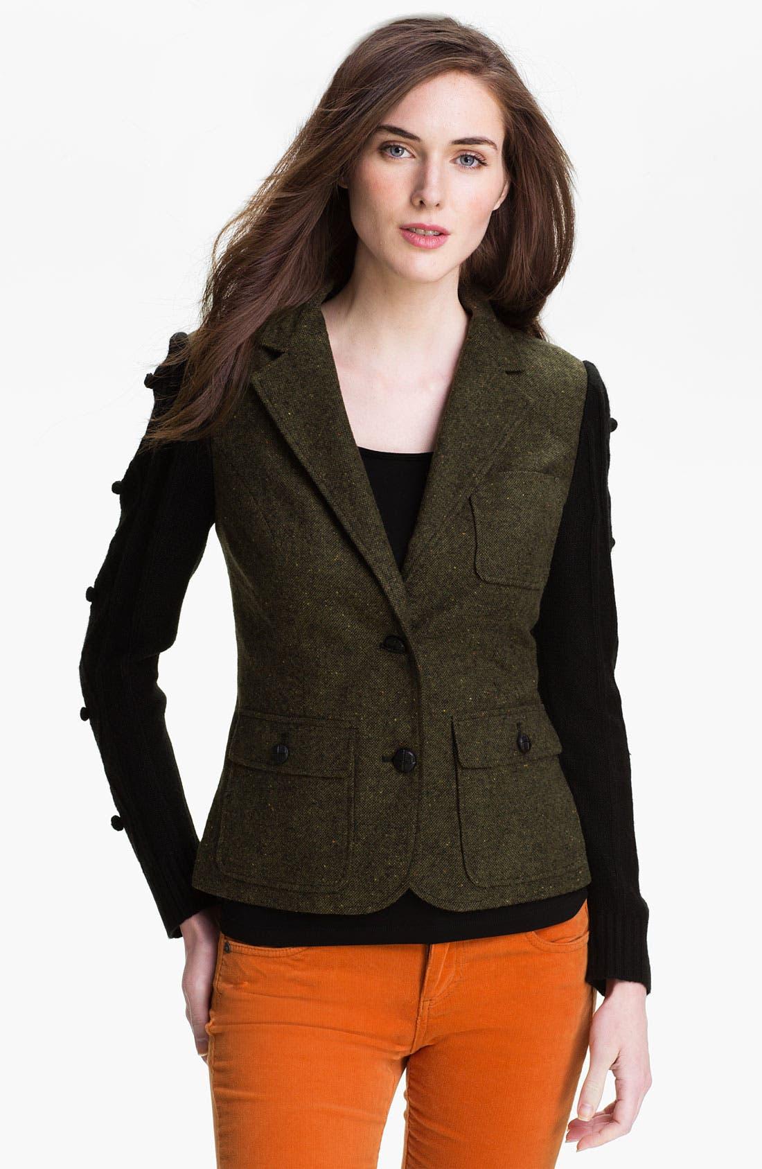 Main Image - Kensie Knit Sleeve Tweed Jacket