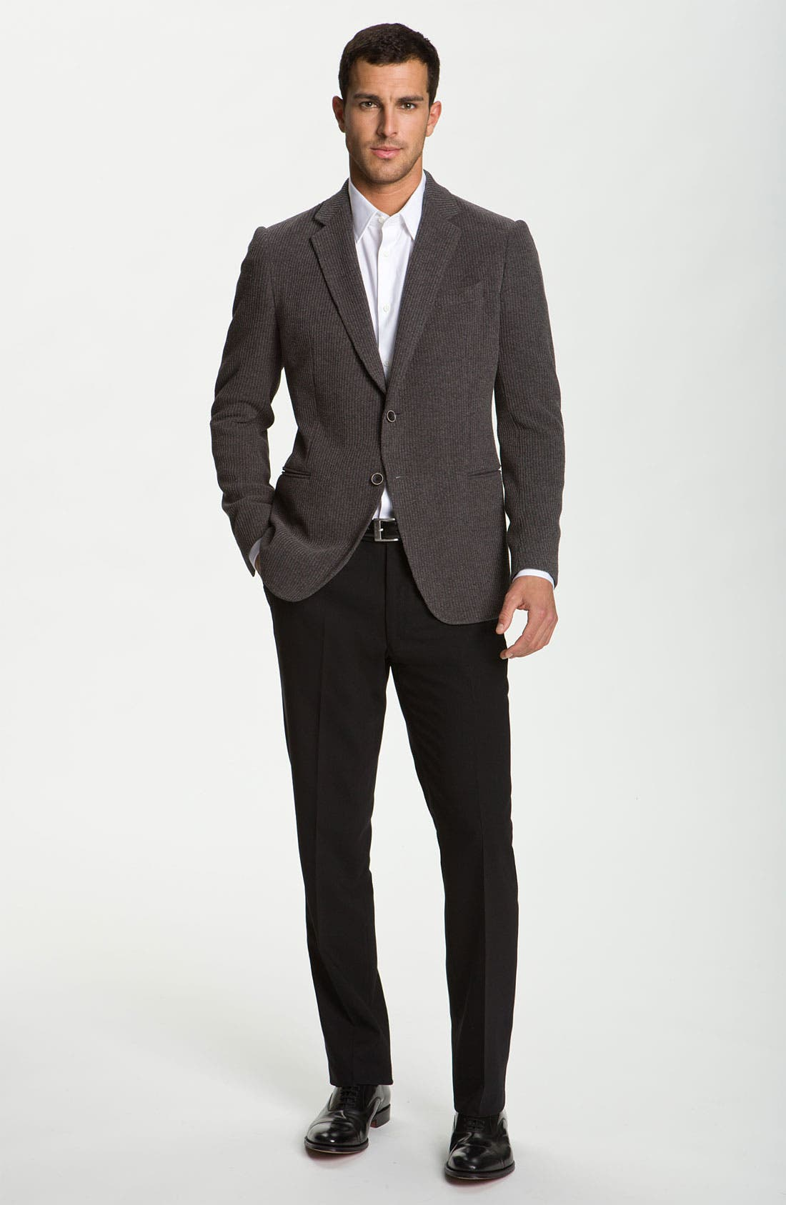 Alternate Image 4  - Armani Collezioni Trim Fit Knit Blazer
