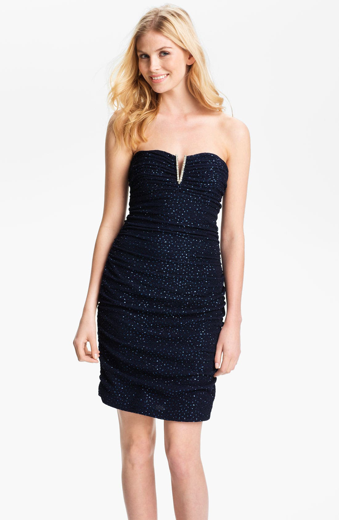 Main Image - Hailey by Adrianna Papell Notched Strapless Glitter Sheath