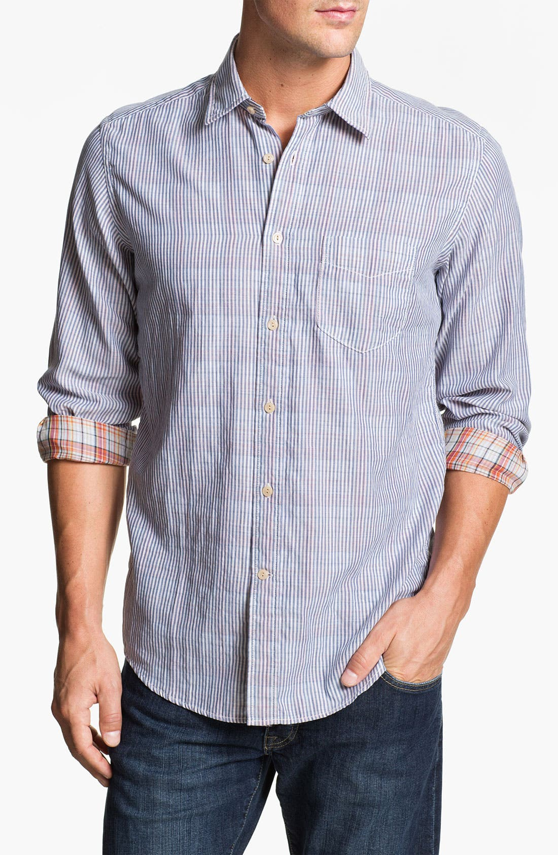 Alternate Image 1 Selected - Façonnable Tailored Denim Regular Fit Sport Shirt