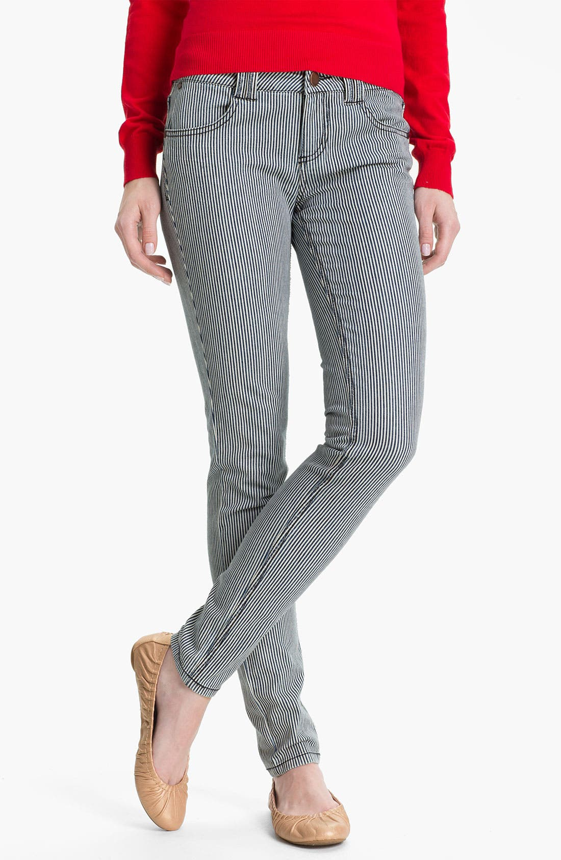 Alternate Image 2  - Fire Stripe Skinny Jeans (Juniors)