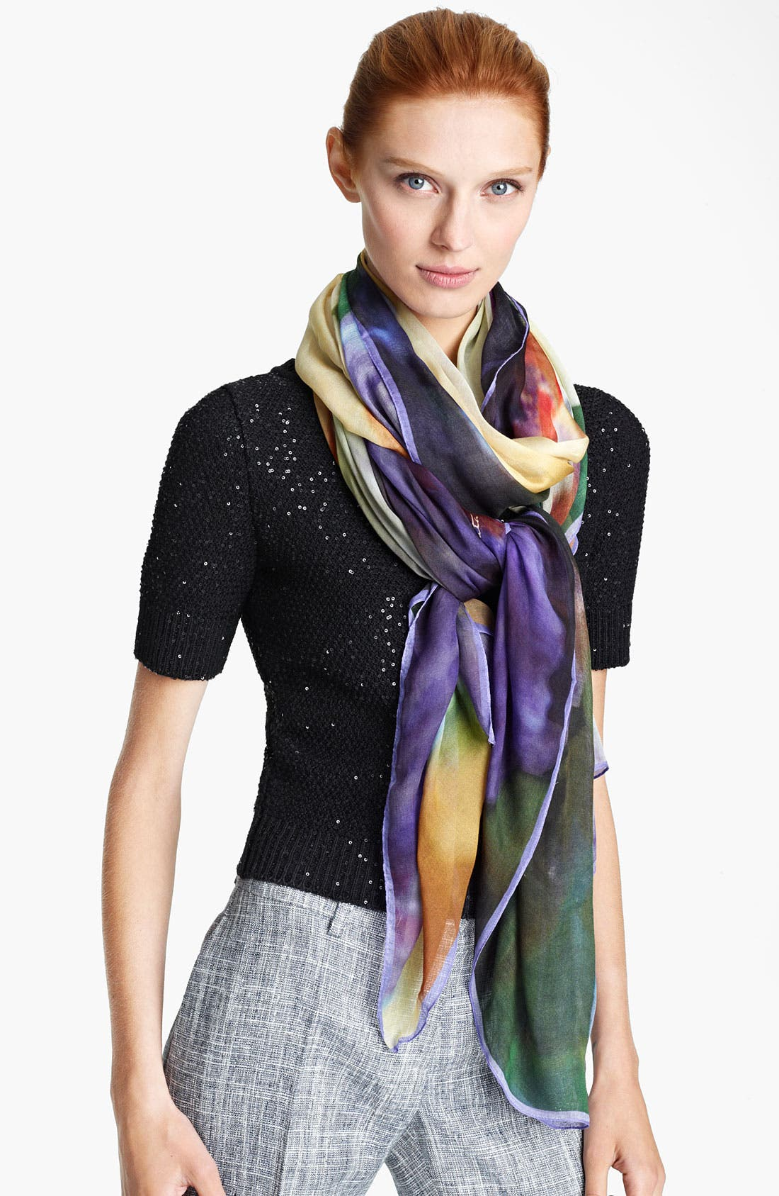 Alternate Image 1 Selected - Oscar de la Renta Iris Print Scarf