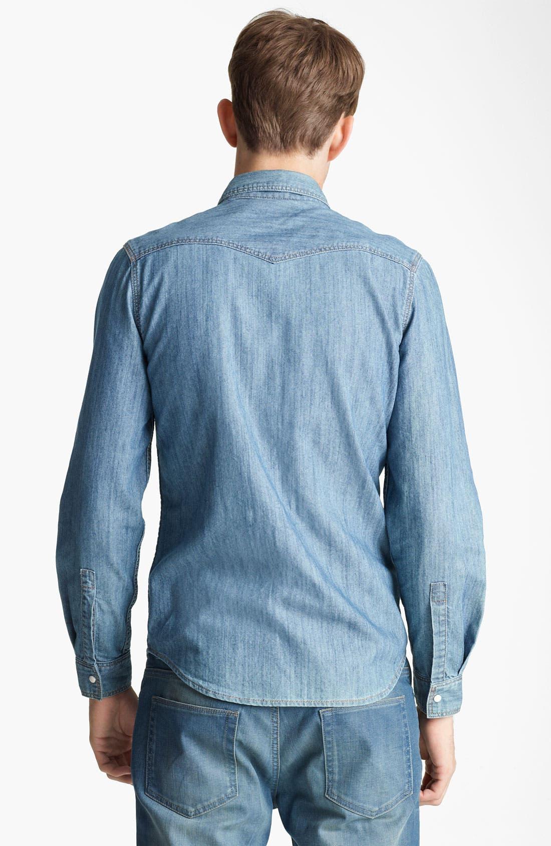 Alternate Image 2  - Topman Pattern Pocket Denim Shirt