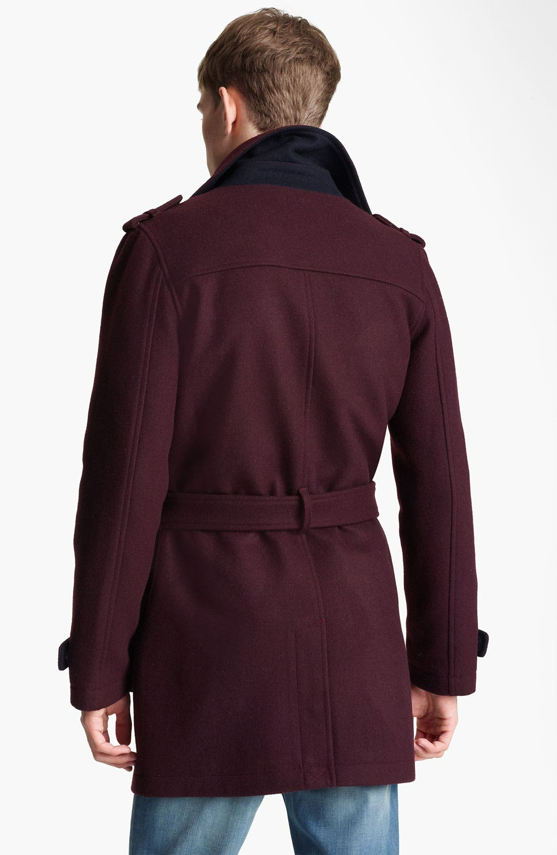 Alternate Image 2  - Topman Double Breasted Wool Blend Trench Coat