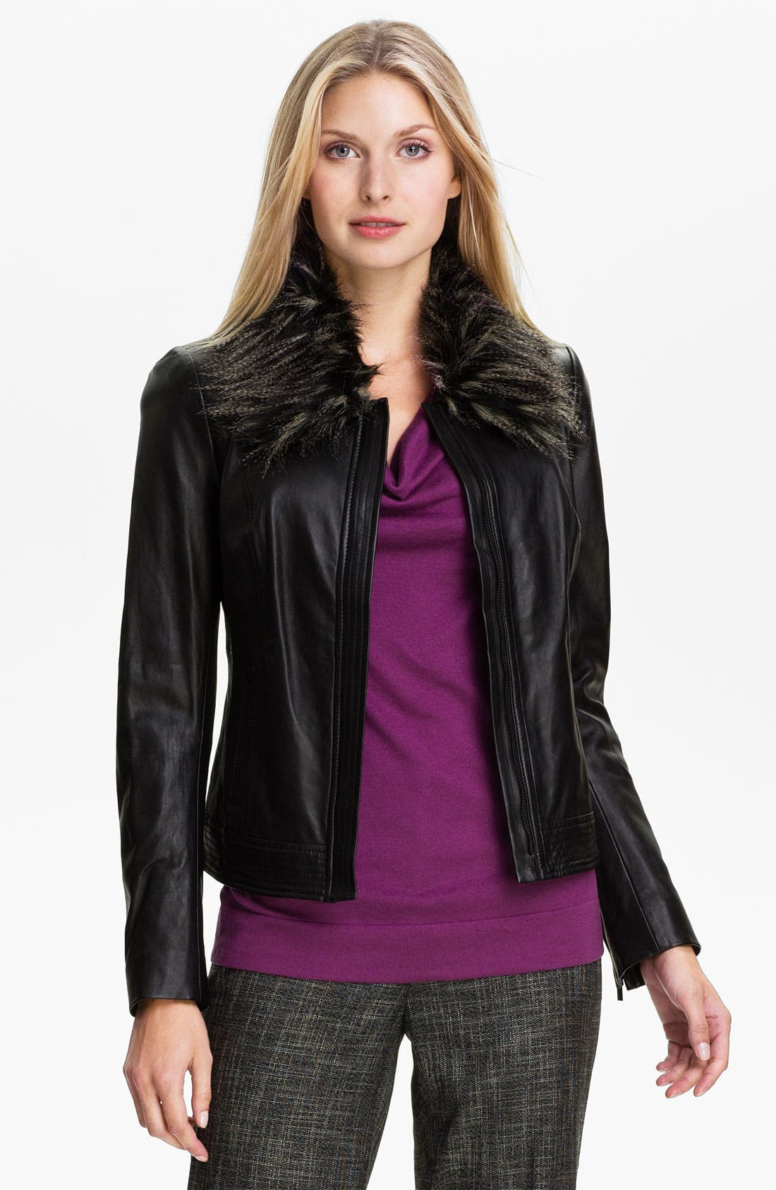 Alternate Image 3  - Classiques Entier® 'Brenna' Leather Jacket with Faux Fur