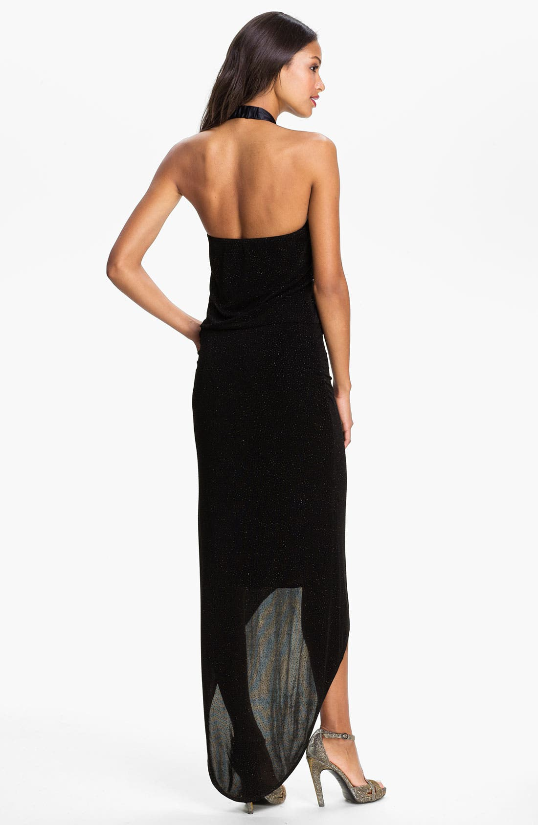 Alternate Image 2  - Laundry by Shelli Segal High/Low Glitter Jersey Halter Gown