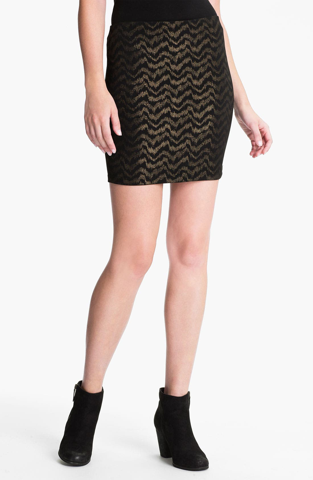 Main Image - Necessary Objects Frequency Metallic Body-Con Skirt (Juniors)