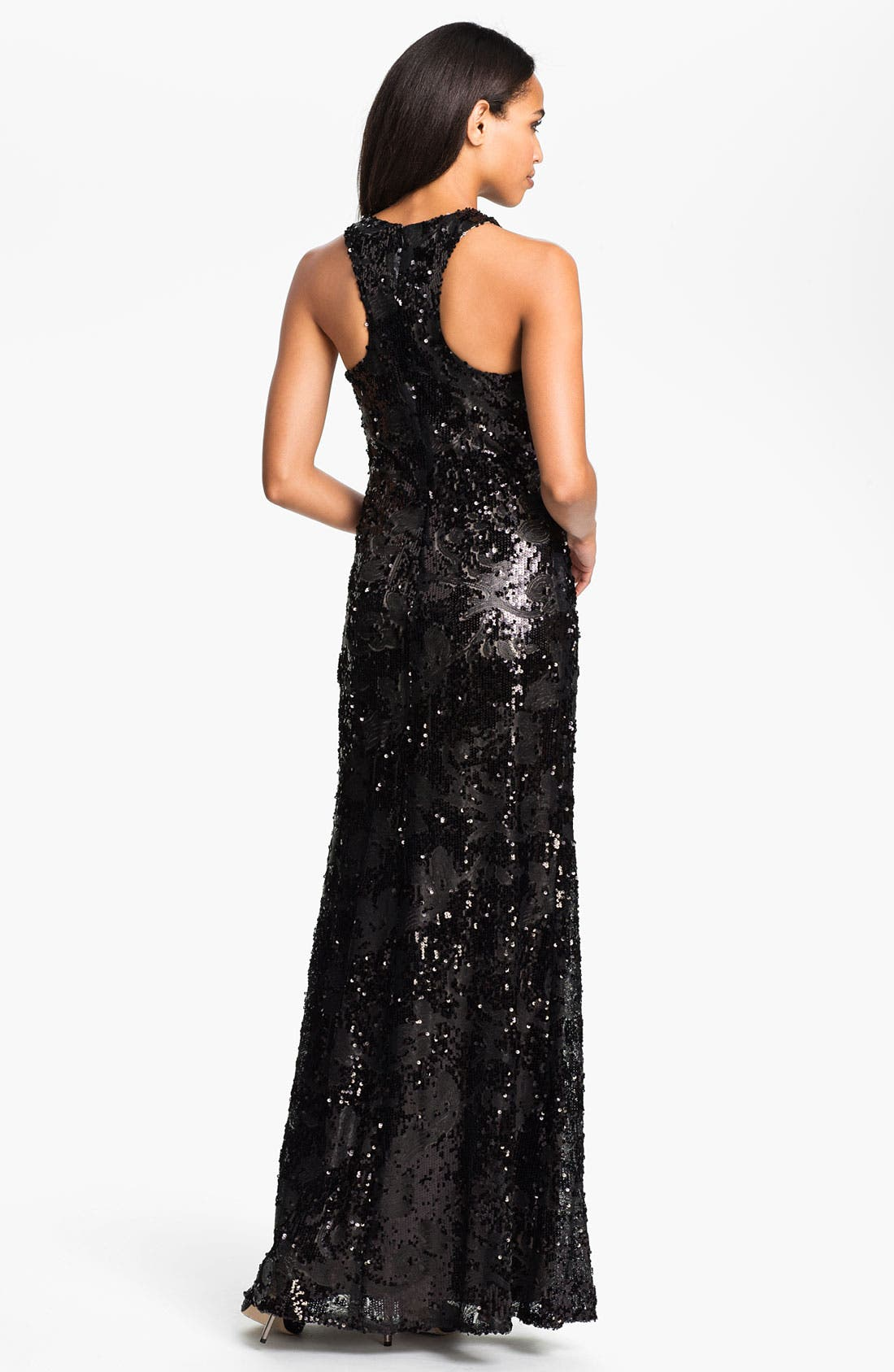 Alternate Image 2  - David Meister Sequin Pattern Racerback Gown