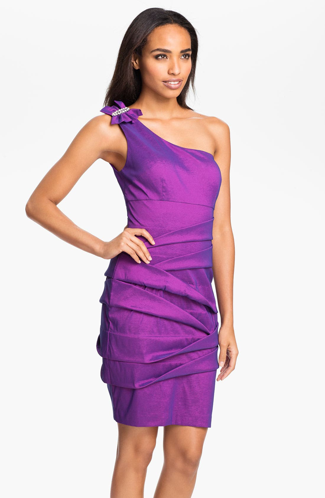Main Image - Hailey by Adrianna Papell One Shoulder Foldover Taffeta Sheath Dress