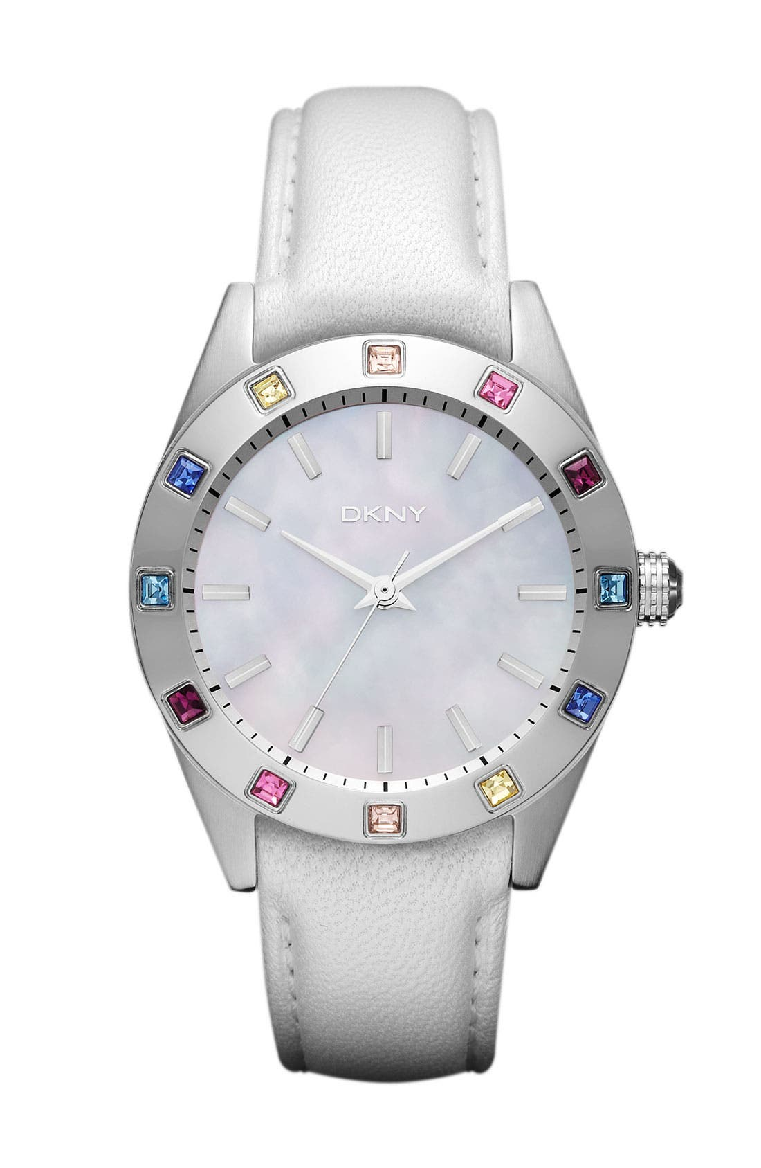 Alternate Image 1 Selected - DKNY Carousel Crystal Bezel Leather Strap Watch