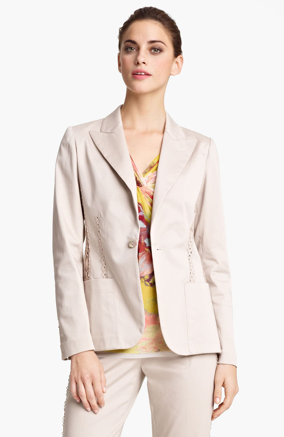 Main Image - Jean Paul Gaultier Lace Detail Stretch Gabardine Blazer