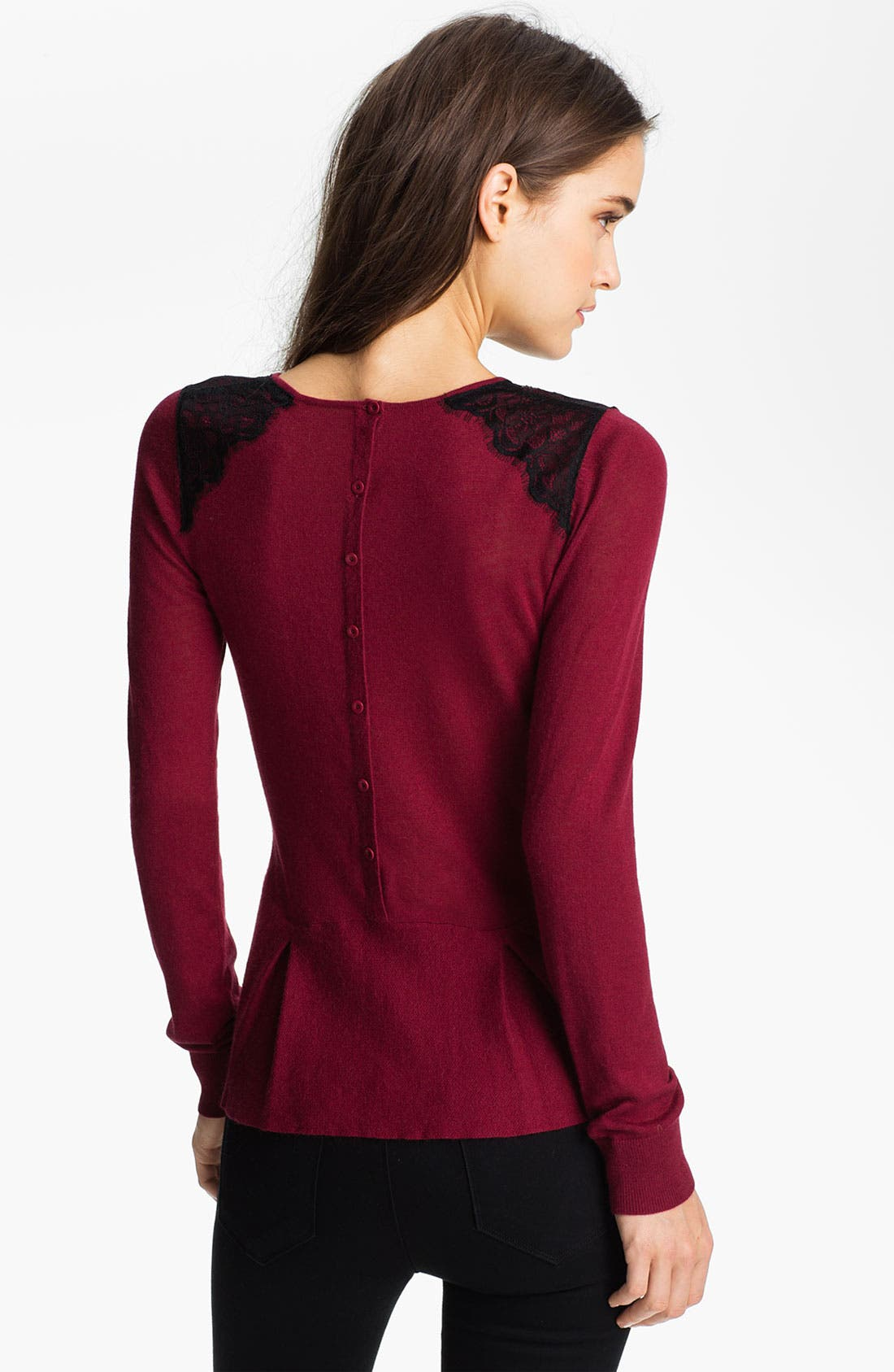 Alternate Image 2  - Hinge® Lace Shoulder Peplum Sweater