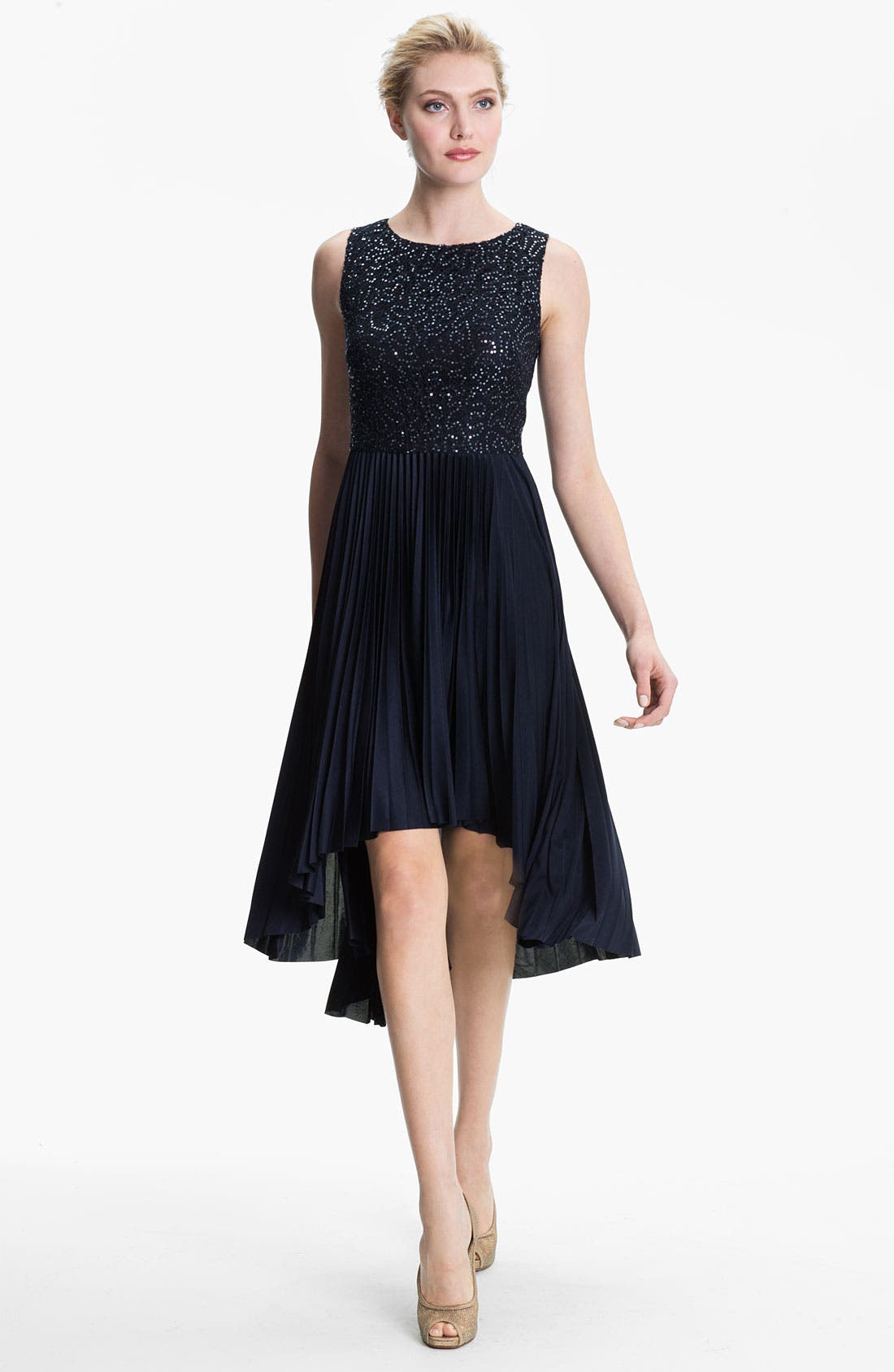 Alternate Image 1 Selected - Suzi Chin for Maggy Boutique Sequin Bodice Pleated High/Low Dress