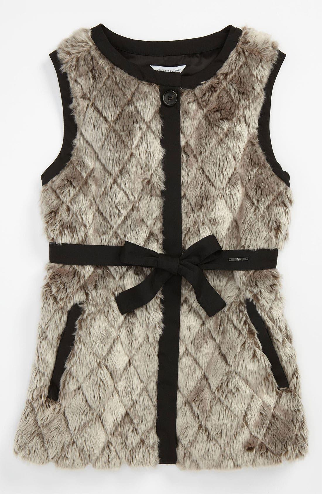 Main Image - LITTLE MARC JACOBS Faux Fur Vest (Big Girls)
