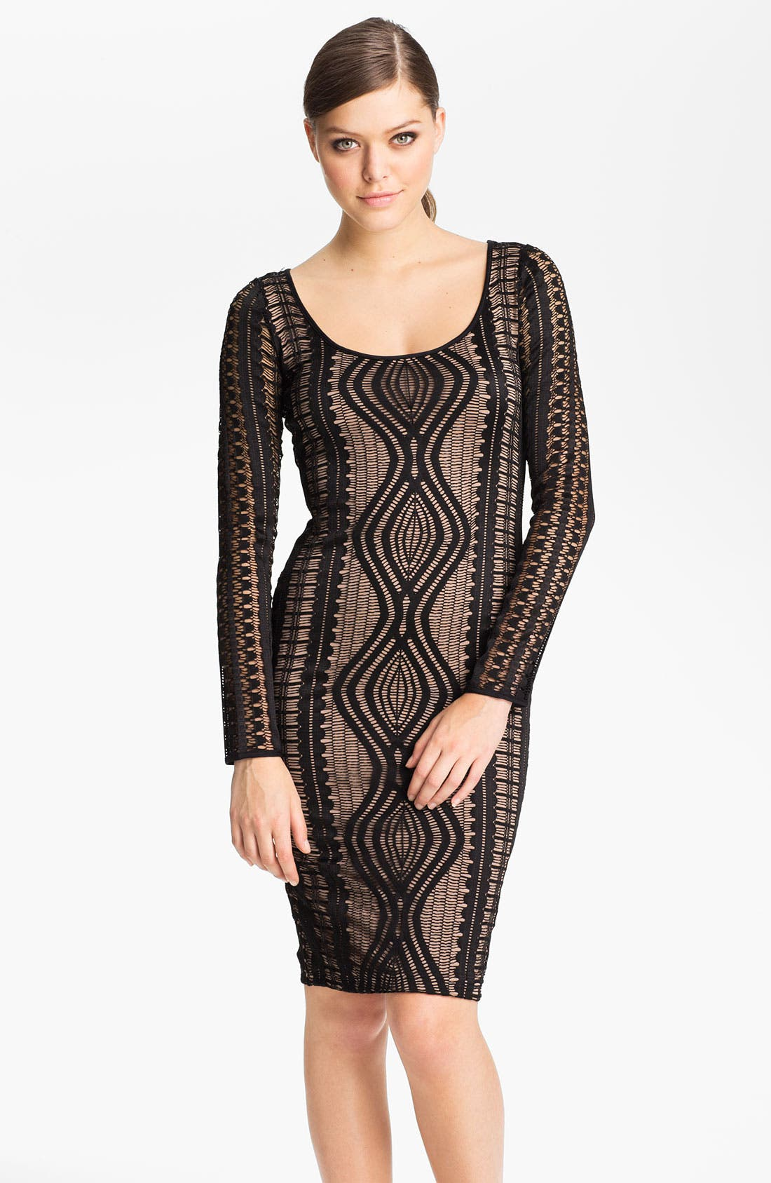 Main Image - BCBGMAXAZRIA Long Sleeve Lace Sheath Dress
