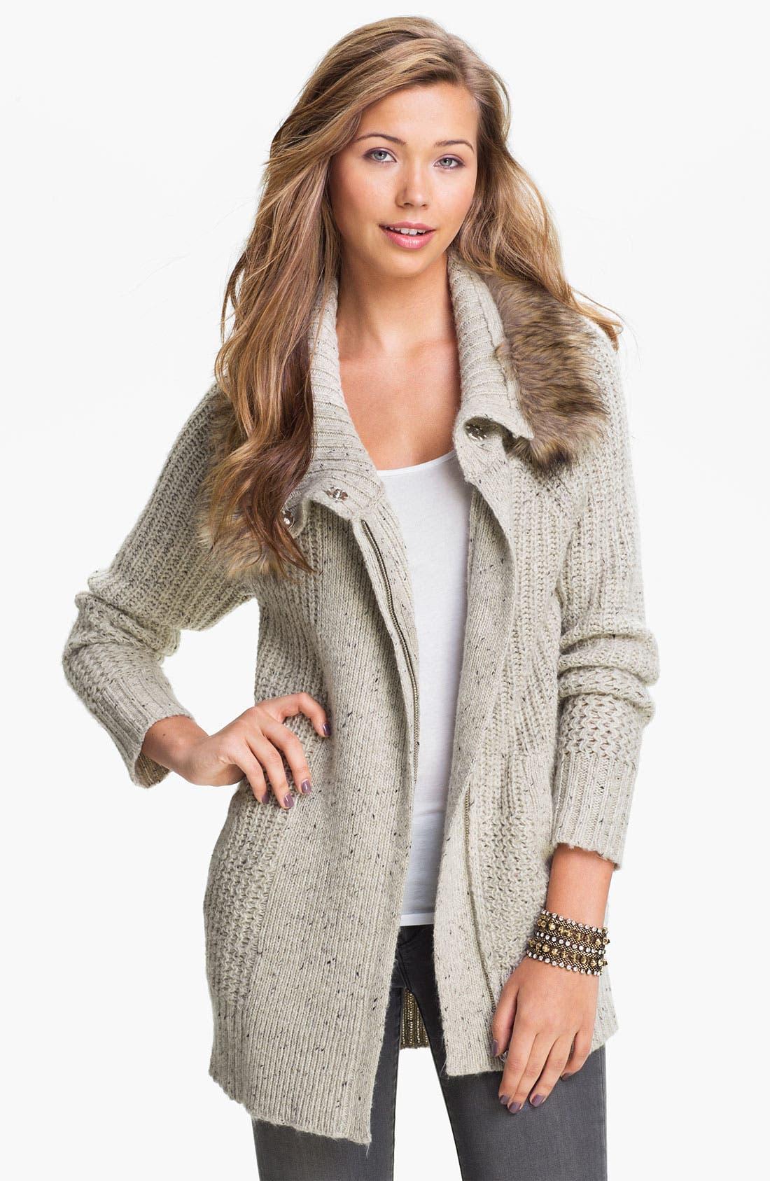 Alternate Image 1 Selected - Rubbish® Faux Fur Collar Cardigan (Juniors)