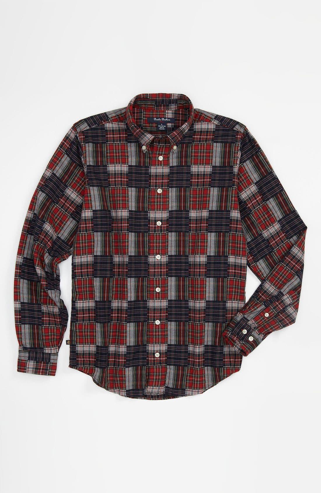 Alternate Image 1 Selected - Brooks Brothers Tartan Patchwork Sport Shirt (Big Boys)