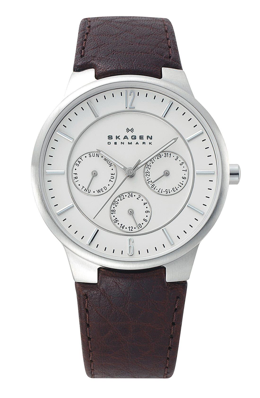 Main Image - Skagen Round Multifunction Leather Strap Watch, 38mm