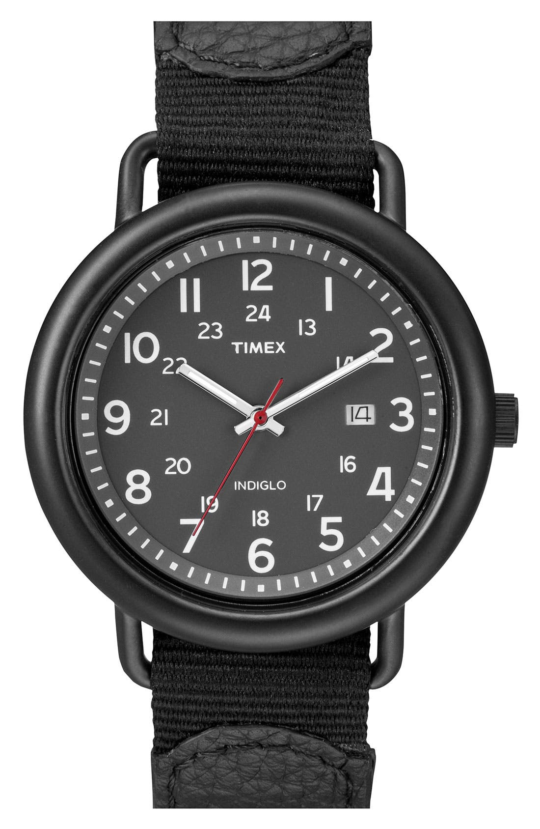 Alternate Image 1 Selected - Timex® 'Camper' Leather & Nylon Strap Watch